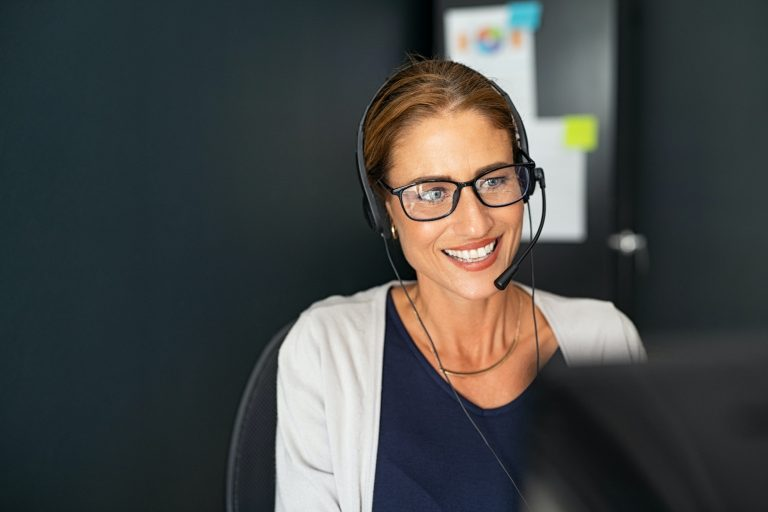 Mature call center agent working from home